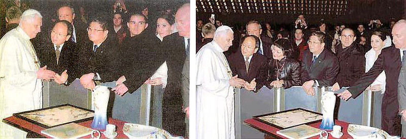 """. January 2008: Taiwan\'s newspaper Liberty Times published this doctored photo of a delegation, led by the chairman of the Franz Collection, being met by the Pope. In the  original photo, Wang Shaw-lan, a publisher of competing newspaper United Daily News, was removed. A Liberty Times reporter said that she removed Wang whom she said was \""""not an essential presence\"""" and in order to shrink the picture for \""""better display\"""". Later, Liberty Times said that the doctored picture came from the Franz Collection, but a Franz Collection spokesman said the newspaper had asked it to airbrush out Wang.   SOURCE: http://www.cs.dartmouth.edu/farid/research/digitaltampering/"""