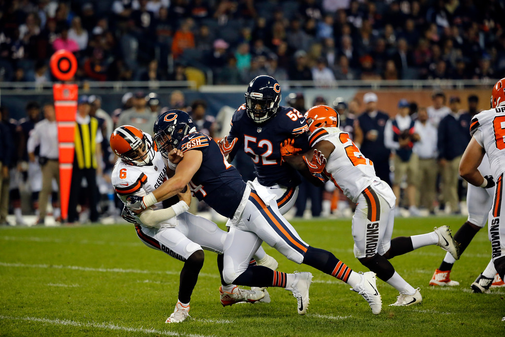 . Chicago Bears inside linebacker Nick Kwiatkoski (44) sacks Cleveland Browns quarterback Cody Kessler (6) during the first half of an NFL football game, Thursday, Aug. 31, 2017, in Chicago. (AP Photo/Charles Rex Arbogast)