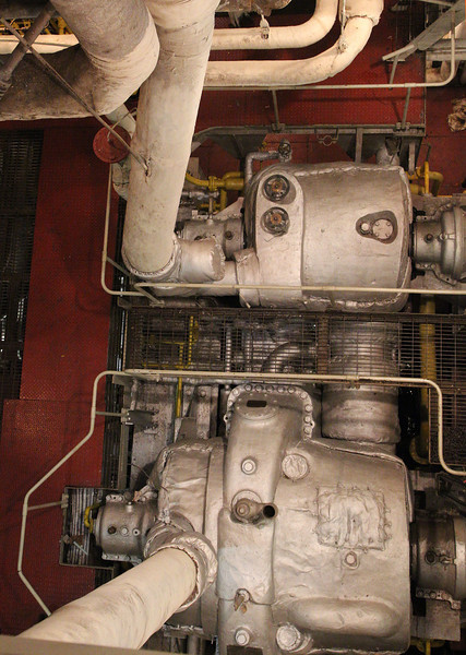 Now we visit the American Victory, a Liberty Ship.  These are its aged steam turbines.
