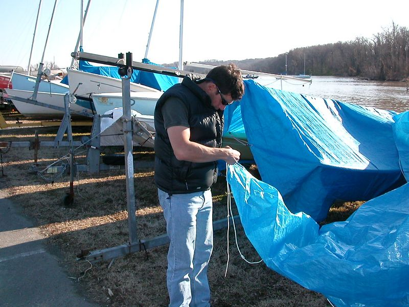 Making boy scout/sailor knots.