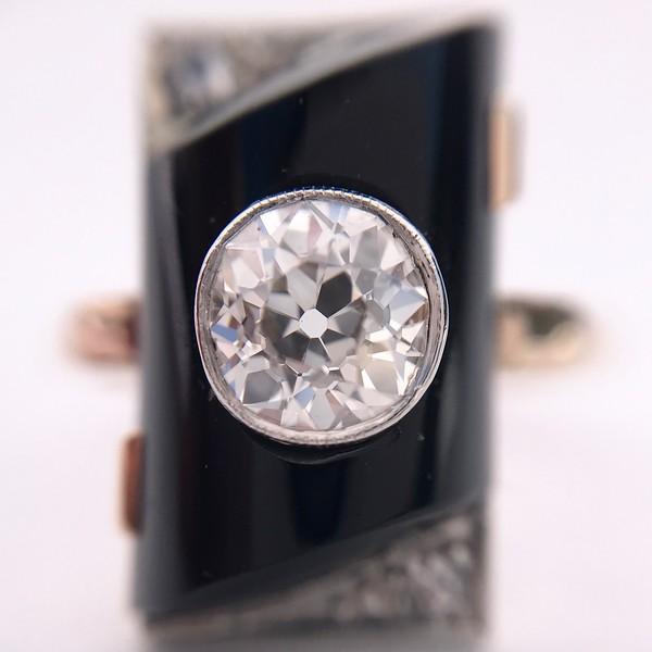 .74ct Art Deco Diamond and Onyx Ring