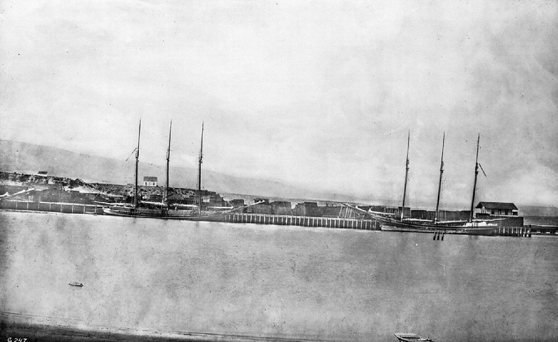 Port of Los Angeles (San Pedro Harbor) from Terminal Island, ca.1884