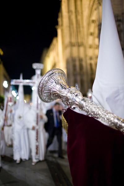 Penitent bearing a bocina or ornamental trumpet, Holy Week, Seville, Spain