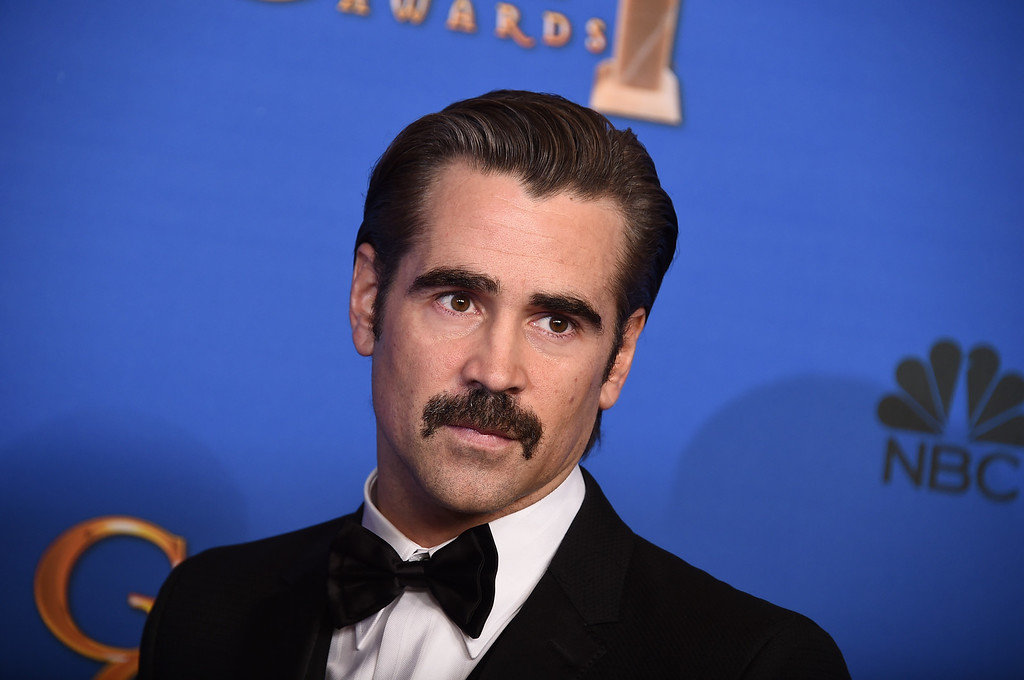 . Colin Farrell poses in the press room at the 72nd annual Golden Globe Awards at the Beverly Hilton Hotel on Sunday, Jan. 11, 2015, in Beverly Hills, Calif. (Photo by Jordan Strauss/Invision/AP)