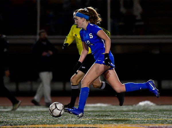 11/23/2019 Mike Orazzi | Staff Southington High School's Abigail Sowa (18) during the Class LL Girls State Soccer Tournament at Veterans Stadium in New Britain Saturday evening. Glastonbury won 1-0.