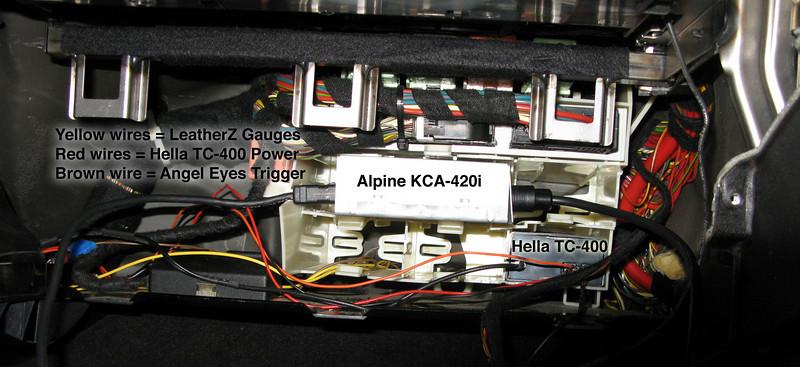 Behind my glove box.. Alpine KCA-420i, Hella TC-400 TPMS