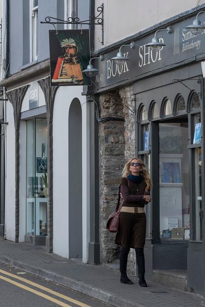 Beautiful woman walking down the street, Kinsale, County Cork, Ireland
