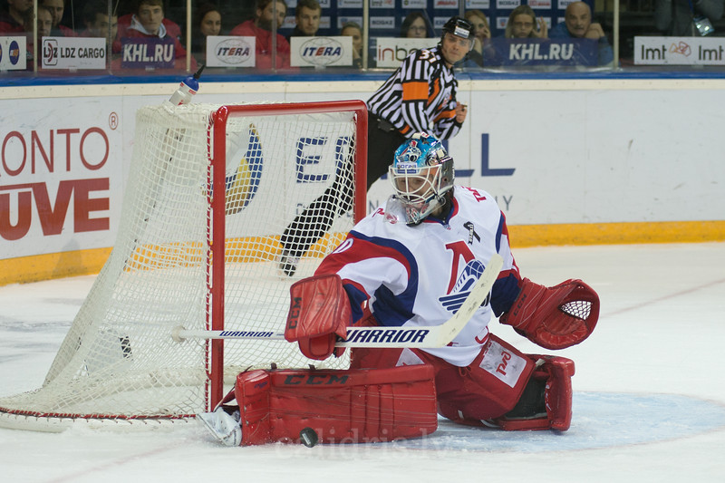 Goalkeeper of Lokomotiv Yaroslavl Joacim Eriksson (30) saves the goal