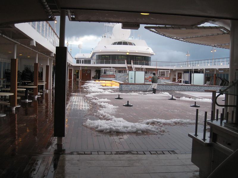 Snow on deck! Antarctica