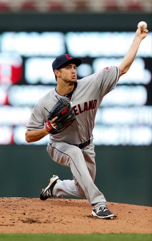 . Cleveland lindians pitcher Ryan Merritt throws against the Cleveland Indians in the first inning of the second game of a baseball doubleheader Thursday, Aug. 17, 2017, in Minneapolis. (AP Photo/Jim Mone)