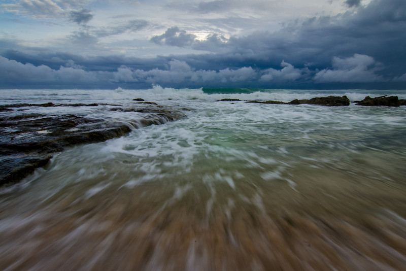 Morning clouds and rolling sea, Cancun, Mexico