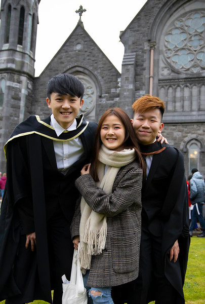 30/10/2019. Waterford Institute of Technology (WIT) Conferring Ceremonies. Pictured are Yeongsern Ng, Amanda Wee and Keeshan Chung from Malaysia. Picture: Patrick Browne