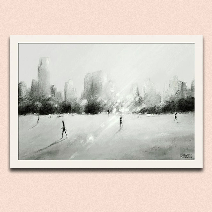 Great Lawn Light Central Park Black White Gray New York Framed Wall Art Print. Peachy pink wall color - Benjamin Moore Head Over Heels. Wall art by Beverly Brown - beverlybrown.com
