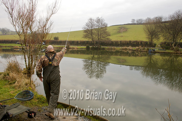 Tony Latter searches the swim with the swimfeeder rig.© 2010 Brian Gay