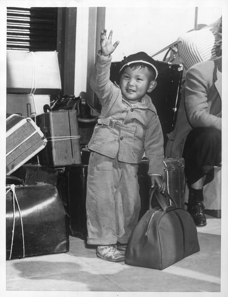 """Jap Evacuation -- Two-year-old Keith Miyamoto"" -- caption on photograph"
