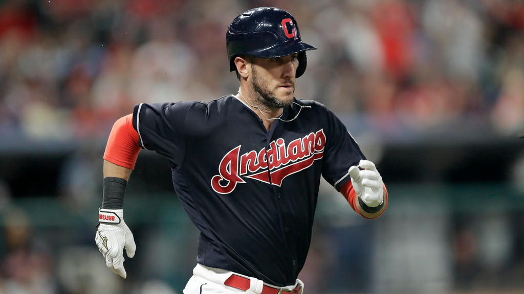 . Cleveland Indians\' Yan Gomes runs out a ground ball in the ninth inning of a baseball game against the Minnesota Twins, Wednesday, Aug. 29, 2018, in Cleveland. (AP Photo/Tony Dejak)