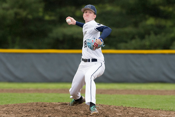 05/14/19 Wesley Bunnell | Staff Newington baseball defeated New Britain 4-3 in a walk off on Tuesday afternoon at Newington High School. Jack Kelley (18).