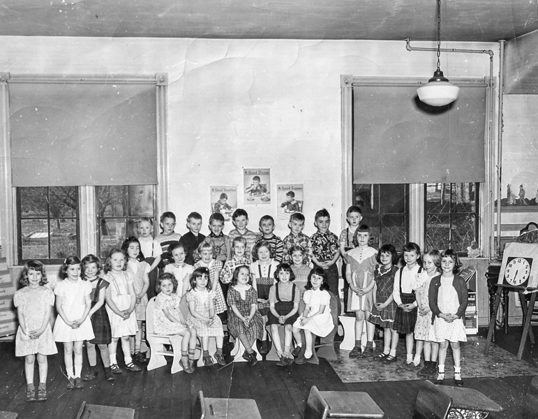 Mrs. Anna Altman's First Grade Class of 1951-52 Frist row seated: Mary Carruthers, Ida Bradford, Norma Kinberiing, Donna Lightner, Jane (Benedetto) Woods Second Row: Lavina McGeary, Susan Kensinger, Olive Metzer, Nancy Davis, Sarah Bathurst, Gloria DeArmett, Lucille (Sharer) Russell, Polly Ickes, Barbara (Estep) Rupert, Jean (Henshey) Smith, Carol (Appieby) Dodson, Jane Smith, Judy Swan, Louise Forshey, Nancy Kutruff Third Row: Donnie Brunner, Unknown, Rick Holes, Jim Bonseii, Unknown, Unknown, Barry Graham, Jim Campbell, Art Putt.