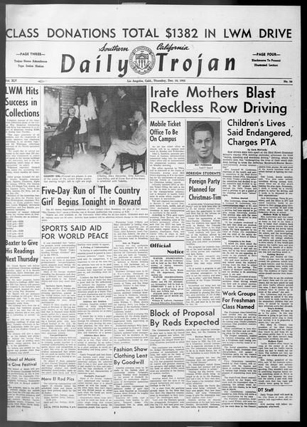 Daily Trojan, Vol. 45, No. 56, December 10, 1953