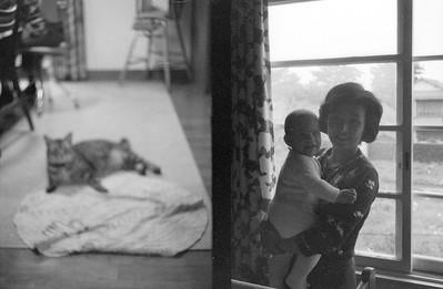 Baby David and Japanese cleaning lady. Higashi-Tamagawa 1965