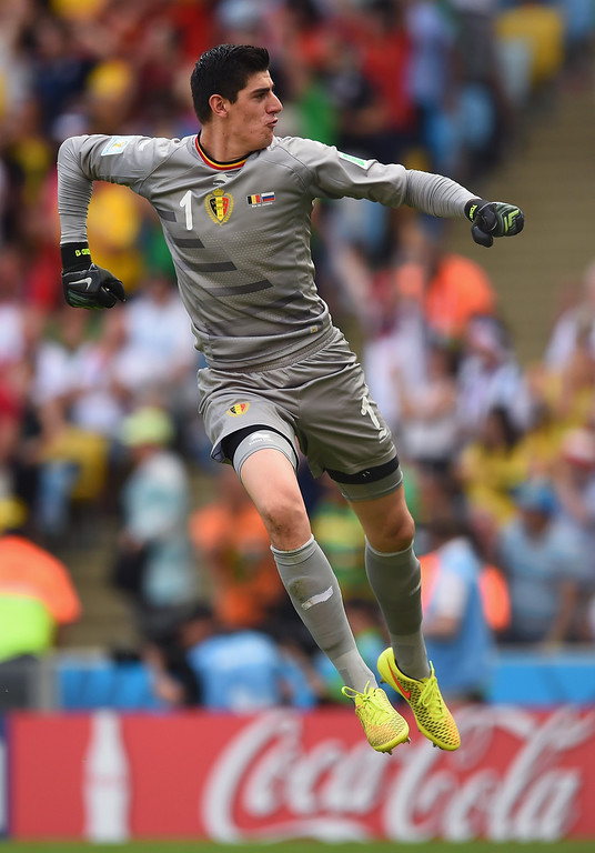 . Goalkeeper Thibaut Courtois of Belgium celebrates during the 2014 FIFA World Cup Brazil Group H match between Belgium and Russia at Maracana on June 22, 2014 in Rio de Janeiro, Brazil.  (Photo by Matthias Hangst/Getty Images)