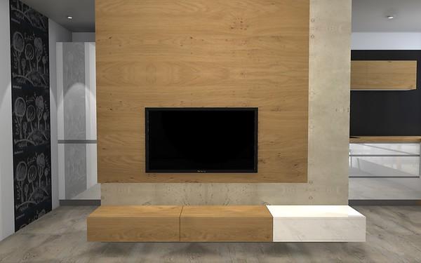 Prostorný obývací pokoj s kuchyní v panelovém domě