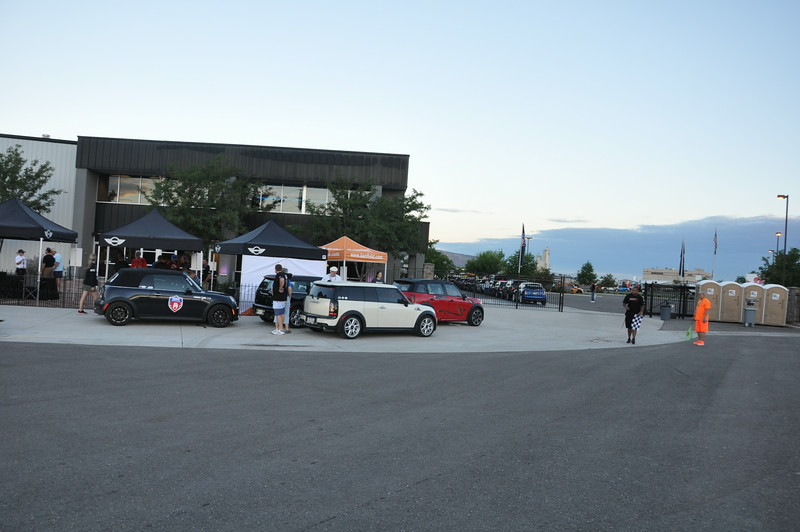 Outside Allen Unique Autos, before the rainstorm forced everybody inside for the rest of the evening. MINIs eventually filled the parking lot. Grand Junction.