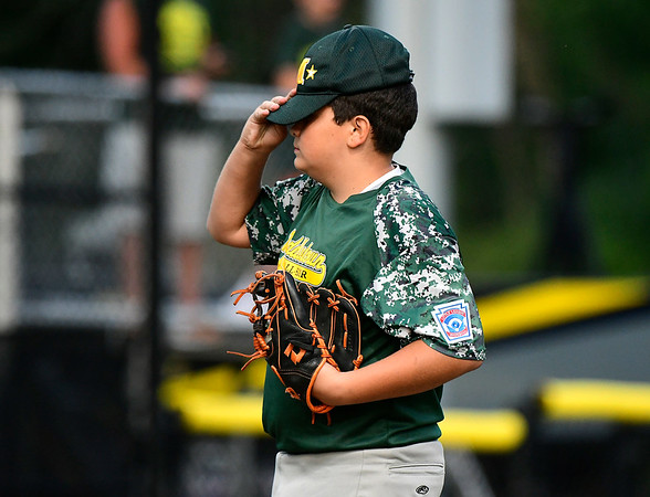 8/10/2018 Mike Orazzi | Staff New Jersey's Gaetano Alfano (13) during the Eastern Regional Little League Tournament at Breen Field in Bristol Friday night.