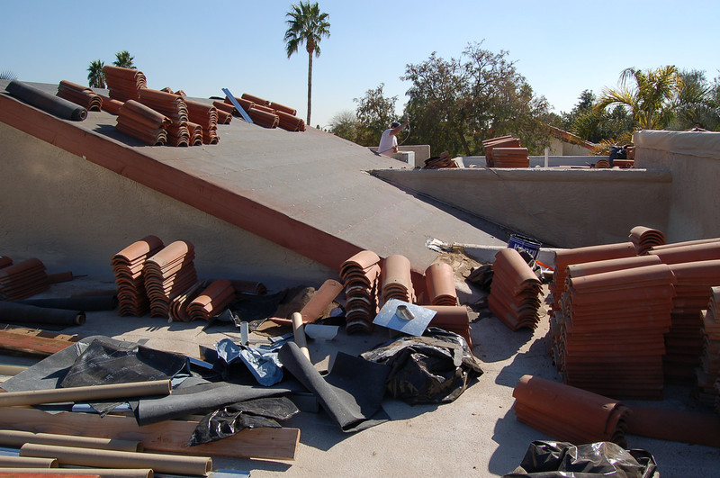 The roofers still have some work to do.