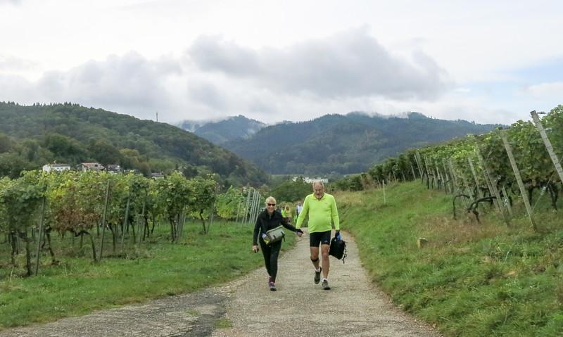 Sue & EJ hiking up to Staufen Castle.