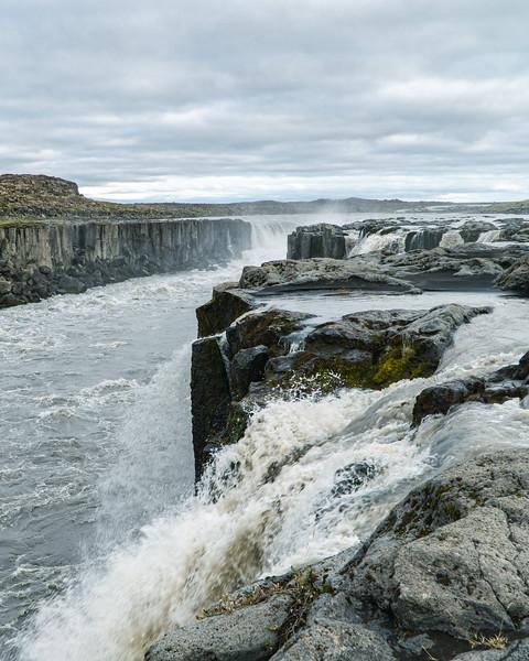 Selfoss, Long Icelandic Waterfall on a Cloudy Day