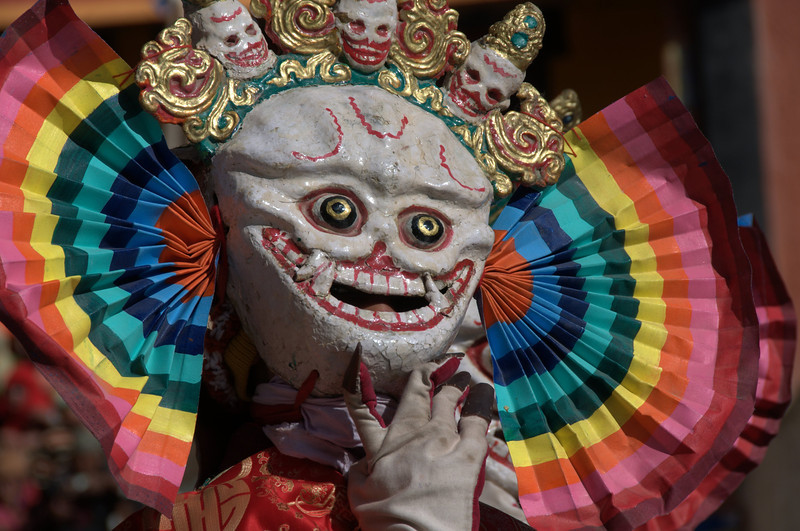 Mask dance st Thiksey Monastery (also called a gompa or gonpa).  Ladakh, India