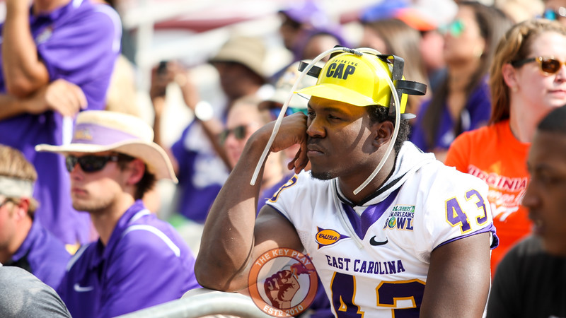 An ECU fan ponders the results of the game after his team got blown out by the Hokies in Lane Stadium. (Mark Umansky/TheKeyPlay.com)
