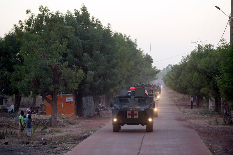 ". This handout picture released on January 16, 2013 by French Army Communications Audiovisual office (ECPAD) shows French troops heading north after leaving Bamako on January 15, 2013 to the front line against Islamist fighters. After days of airstrikes on Islamist positions in the northern territory the rebel triad seized in April, French and Malian troops battled the insurgents in the small town of Diabaly, some 400 kilometres (250 miles) north of the capital Bamako.          AFP PHOTO / ECPAD / ARNAUD ROINE  RESTRICTED TO EDITORIAL USE - MANDATORY CREDIT ""AFP PHOTO / ECPAD / ARNAUD ROINE\"" - NO MARKETING NO ADVERTISING CAMPAIGNS NO ARCHIVES - DISTRIBUTED AS A SERVICE TO CLIENTS - TO BE USED WITHIN 30 DAYS FROM 01/16/2013ARNAUD ROINE/AFP/Getty Images"