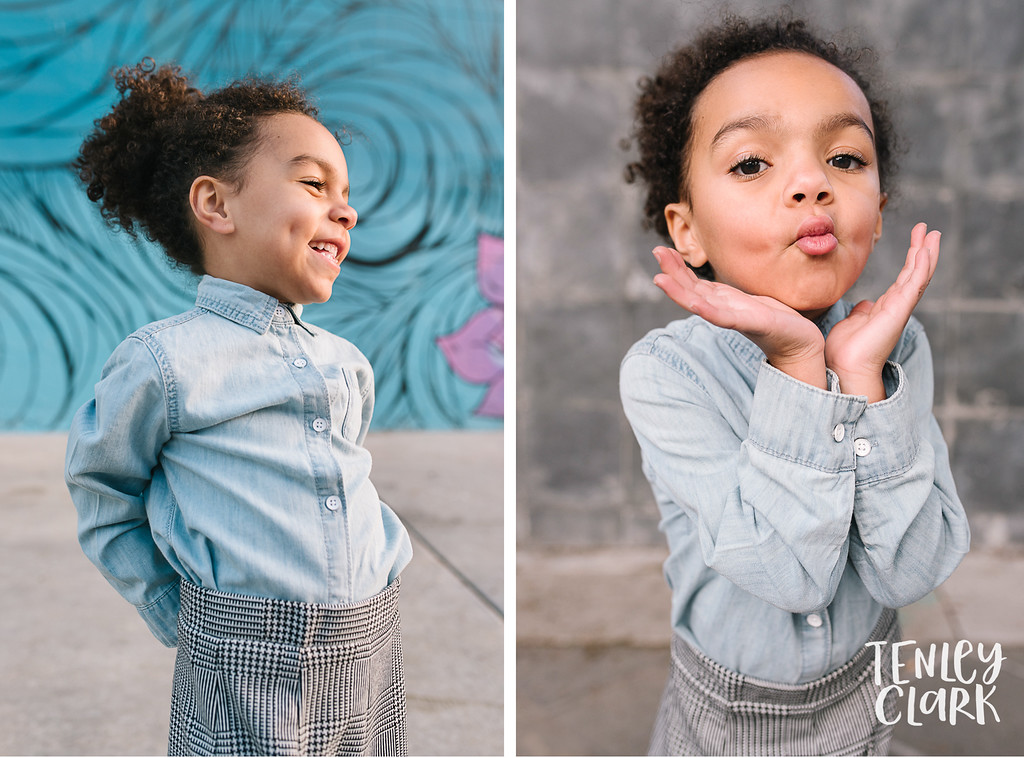 Little girl model portfolio shoot in San Jose by Tenley Clark Photography.