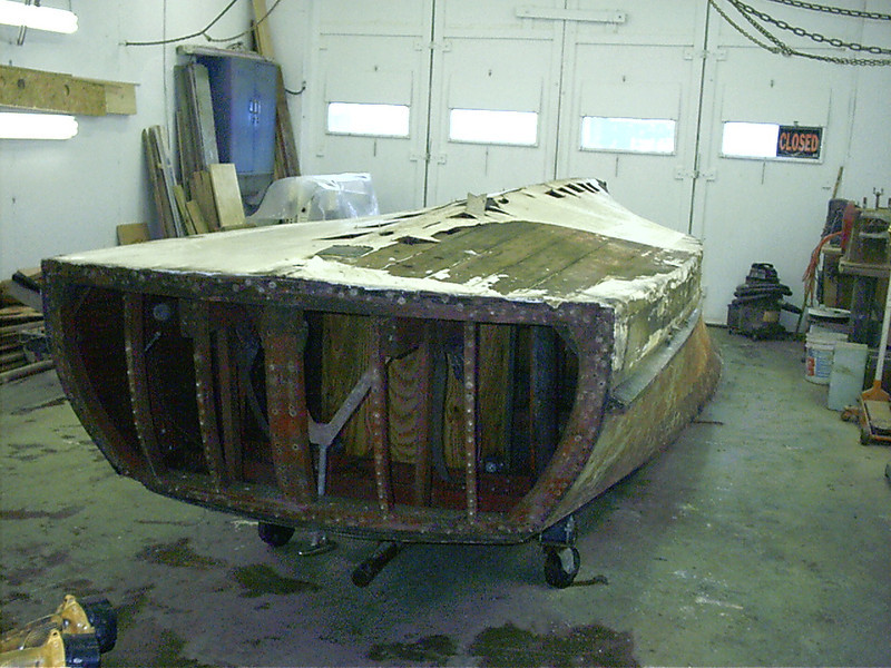Rear view of hull up side down.