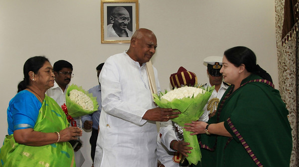 Chennai: Tamil Nadu Chief Minister and AIADMK supremo J Jayalalithaa calls on the Tamil Nadu Governor K Rosaiah in Chennai on May 21, 2016. (Photo: IANS)