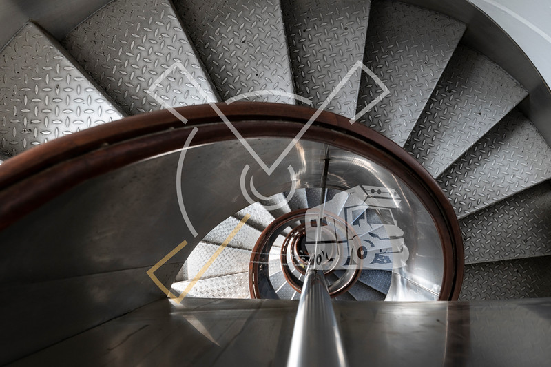 Looking down the spiral staircase of the Ponta dos Capelinhos lighthouse