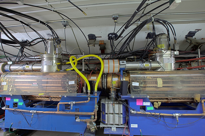 A pair of Booster RF (radio frequency) cavities used to accelerate protons to 8-GeV.  Booster uses up to 20 RF cavities to accelerate protons.