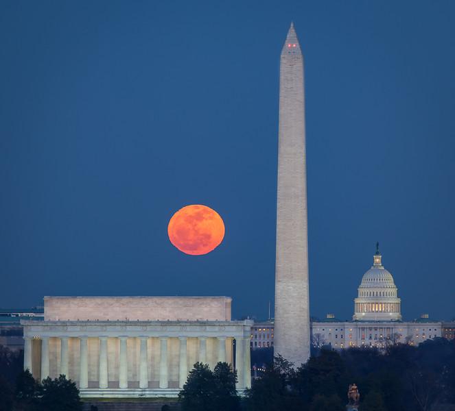 Moon Rising over Washington, DC