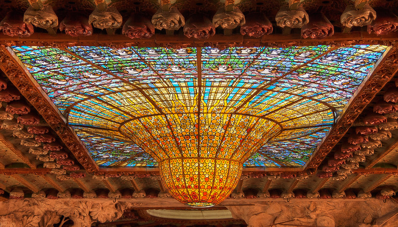 The stained glass skylight in the Palau de la Musica, Barcelona, Spain.