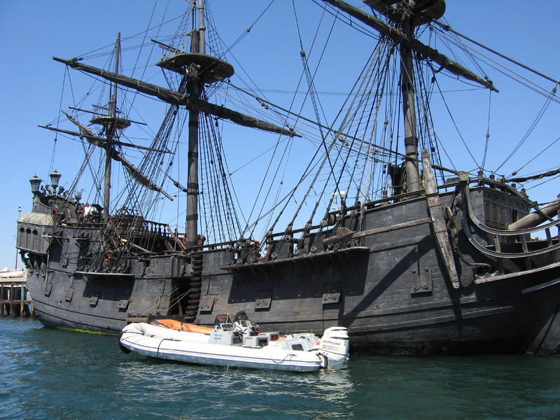 The Black Pearl, LA California  Whilst sailing out of San Pedro harbor back in early August '06 my girlfriend and I came across the Black Pearl from Disney's Pirates of the Caribbean films. They had been filming scenes from the third installment in the area. Be sure to check out the other shots I got of her.  www.kevitivity.com