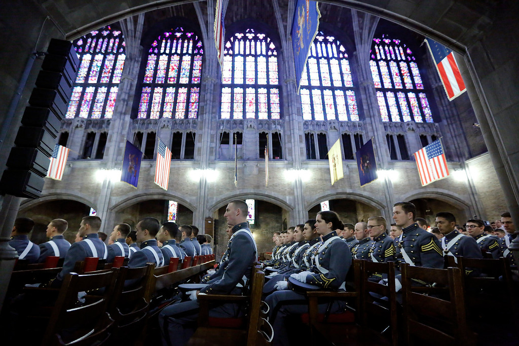 . Cadets from Company A-1 of the United States Military Academy Company sit in the cadet chapel during a service for Gen. Norman Schwarzkopf, who was a member of the company as a cadet, at the United States Military Academy on Thursday, Feb. 28, 2013, in West Point, N.Y. (AP Photo/Philip Kamrass)