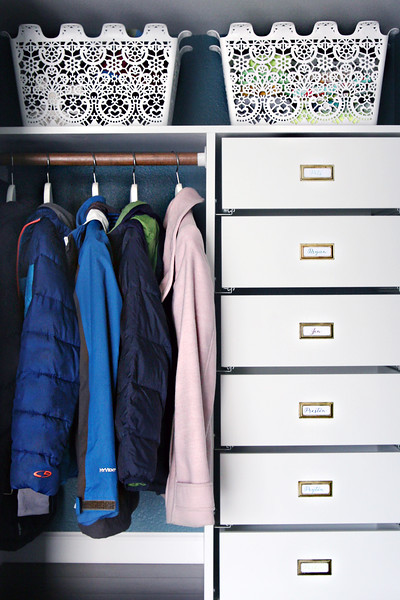 Coat Closet DIY Drawers