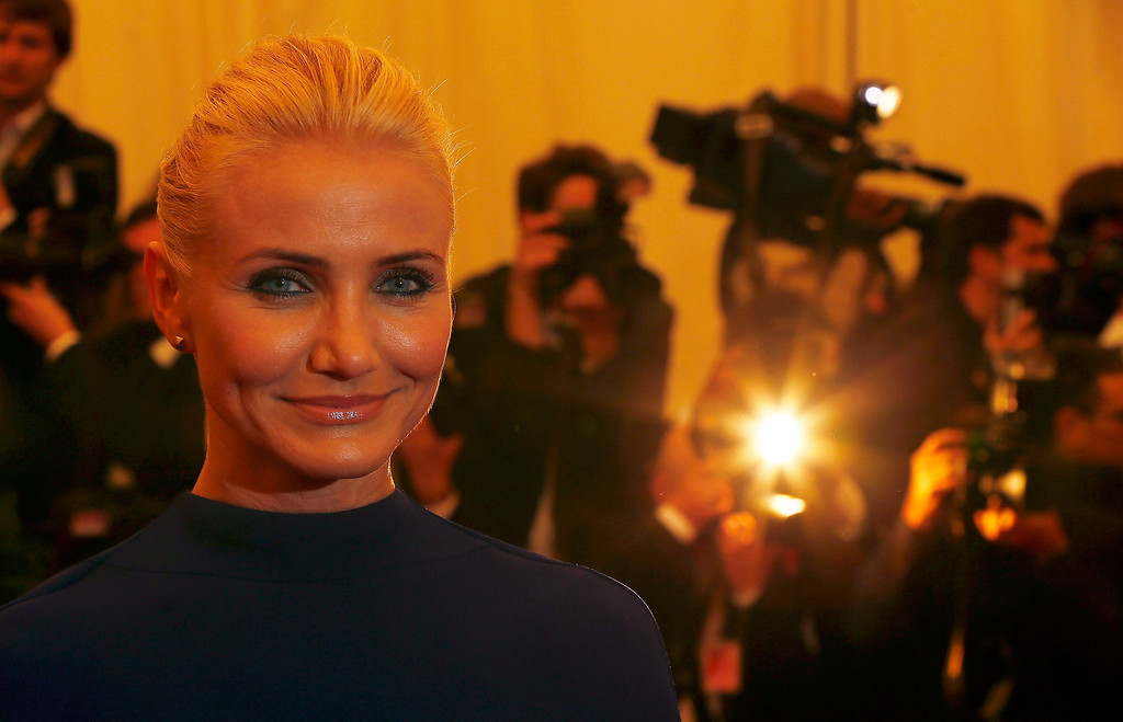 """. Actress Cameron Diaz arrives at the Metropolitan Museum of Art Costume Institute Benefit celebrating the opening of \""""PUNK: Chaos to Couture\"""" in New York, May 6, 2013.   REUTERS/Lucas Jackson"""