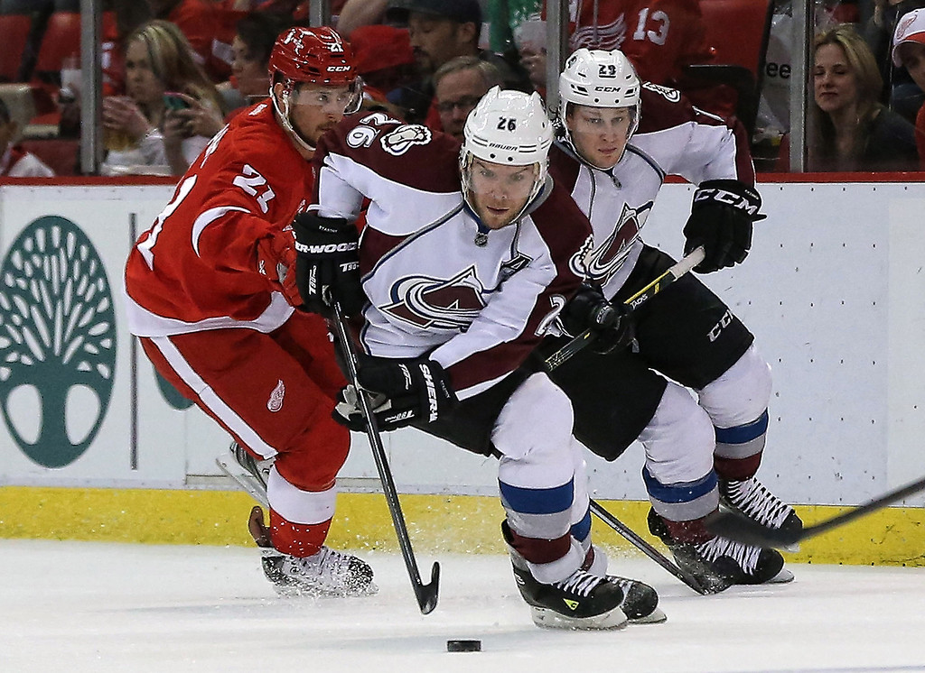 . Paul Stastny #26 of the Colorado Avalanche carries the puck across the blue line during the first period of the game against the Detroit Red Wings at Joe Louis Arena on March 6, 2014 in Detroit, Michigan.  (Photo by Leon Halip/Getty Images)