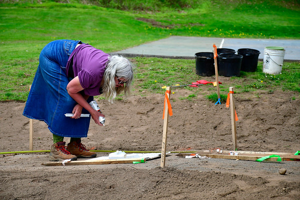 5/9/2019 Mike Orazzi | Staff The North Central Conservation District 's Ruth Miller looks over plans for a rain garden being installed in Bristol's Page Park on Thursday morning.