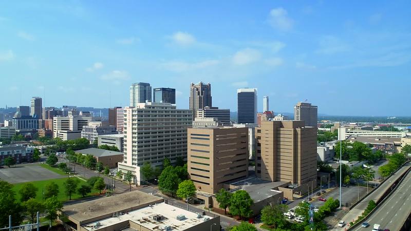 Aerial footage Downtown Birmingham Alabama USA 4k 24p