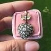 Victorian Revival Heart and Bird Rose Cut Diamond Pendant 8
