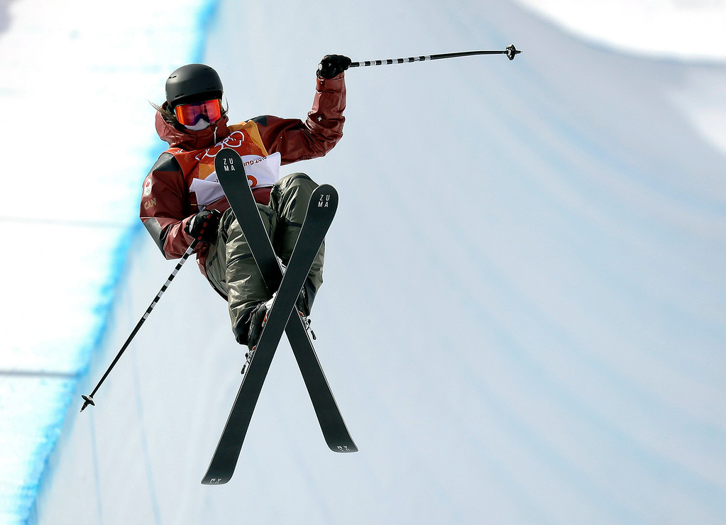 . Cassie Sharpe, of Canada, jumps during the women\'s halfpipe qualifying at Phoenix Snow Park at the 2018 Winter Olympics in Pyeongchang, South Korea, Monday, Feb. 19, 2018. (AP Photo/Kin Cheung)